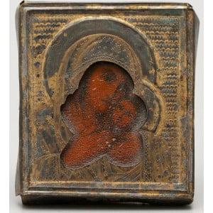 Старинная серебряная иконка Божией Матери в окладе, Россия, нач. 20 в.