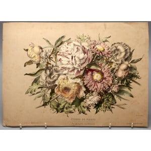 Adolphe Bordeaux, хромолитография «Цветочные этюды» (Etudes de fleurs), Франция, кон. 19 в.