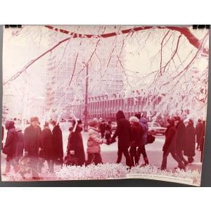 Советское большеформатное  фото «В морозный день на Калининском проспекте в Москве» из архива агентства «Фотохроника ТАСС»