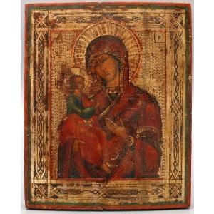 Старинная живописная икона Божией Матери «Иерусалимская», Россия, 19 в.