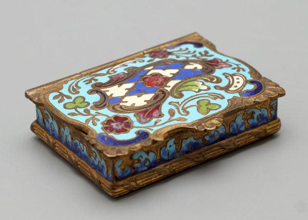 Старинная латунная шкатулка с эмалями, Европа, нач. 20 в.
