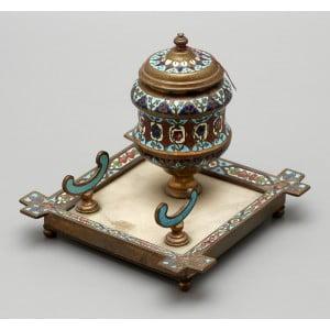 Старинный чернильный настольный прибор, латунь, эмаль, Европа, нач. 20 в.