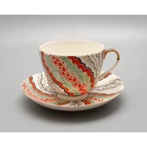 Чашка с блюдцем «Декоративная», художник Протопопова Л. В., ЛФЗ, 1944 г.