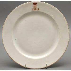Фарфоровая тарелка с вензелем «Николай II», Императорский фарфоровый завод, Николай II, 1910-е гг.