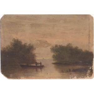 Экгорст В. Е. «Двое в лодке», картон, масло, Россия, 19 в.