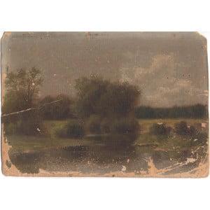 Экгорст В. Е. «Летний пейзаж», картон, масло, Россия, 19 в.