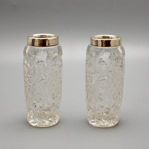 Пара вазочек с ободком из серебра 800-й пробы, Европа, 1-я половина 20 века