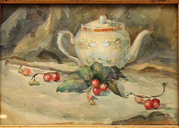 Натюрморт «Чайник и ягоды»,акварель, 1990 г. багет 19-й век