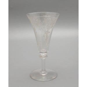 Старинный бокал для шампанского с цветочным рисунком, стекло, Россия, н. 20 в.