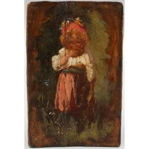 """Старинная картина на дощечке """"Девочка в венке"""""""