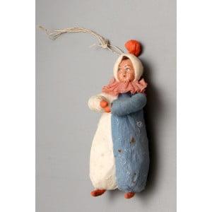 """Старинная ватная ёлочная игрушка """"Девочка в зимней одежде"""", СССР, 1920-30 гг."""