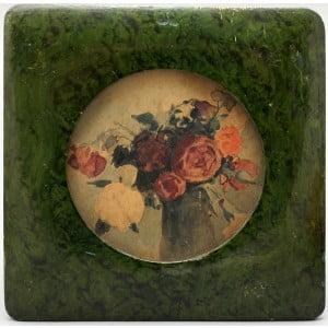 Старинный миниатюрный акварельный рисунок в рамке