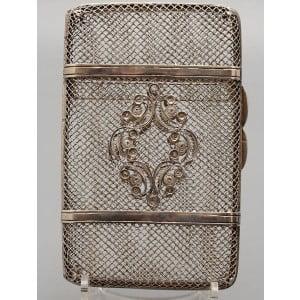 Дамский сканевый, серебряный портсигар, 88 проба, 1867 г.