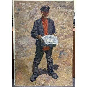 """Картина """"Чтение газеты"""", художник М. И. Самсонов, картон, масло, 1950-е"""