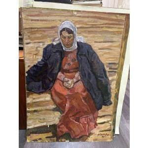 """Картина """"Этюд к диораме """"События на Талке"""", художник М. И. Самсонов, картон, масло, 1950-е"""