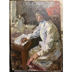 """Картина """"Медсестра"""", художник Е. И. Самсонов, картон, масло, 1953 г."""