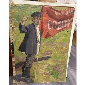 """Картина """"Ткач с красным лозунгом"""", художник М. И. Самсонов, картон, масло, 1950-е"""