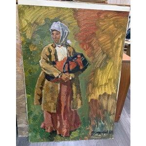 "Картина ""Женщина с ребенком"", художник М. И. Самсонов, картон, масло, 1950-е"