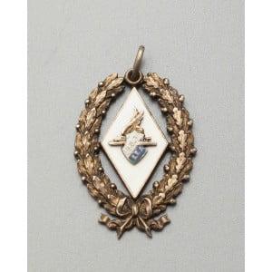 Нагрудный старинный серебряный знак, белая эмаль