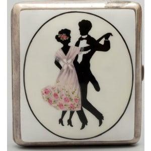 """Портсигар """"Танцующая пара"""", серебро, Европа, 1-я пол. 20 в."""