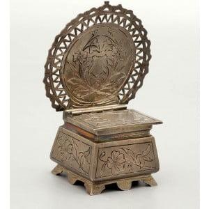 Серебряная солонка в виде царского трона, русский стиль, 84 пр.