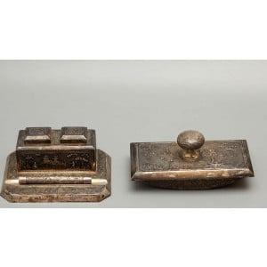 Старинный письменный прибор: чернильница и пресс-папье, серебро, Вьетнам
